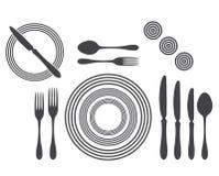 Etiquette Proper Table Setting. Silhouette vector illustration