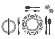 Etiquette Proper Table Setting. Silhouette stock illustration