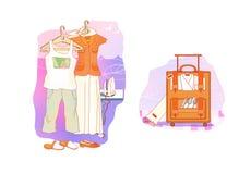etiquette Roupa para o resto e o curso Roupa esperta e ocasional em ganchos Mala de viagem com roupa e pratos ilustração stock