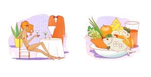 etiquette Roupa para o resto e o curso Roupa esperta e ocasional em ganchos Uma menina em um maiô está sentando-se em uma tabela  ilustração royalty free
