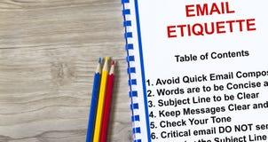 Etiquette on sending email Stock Photo