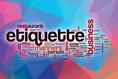 Etiquette word cloud with abstract background Stock Photography