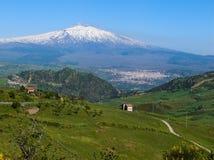 etna横向火山 库存照片