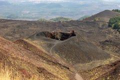 Etna火山口在西西里岛 库存照片