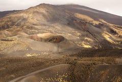 Etna火山火山口在西西里岛,意大利 免版税库存图片
