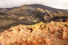 Etna火山火山口在西西里岛,意大利 免版税库存照片