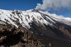 Etna爆发-卡塔尼亚 图库摄影