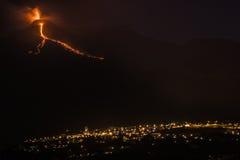 Etna έκρηξης νύχτα Στοκ Φωτογραφίες