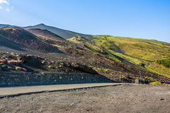 Etna κρατήρας συνόδου κορυφής του νοτιοανατολικού πανοράματος, Σικελία Στοκ εικόνες με δικαίωμα ελεύθερης χρήσης
