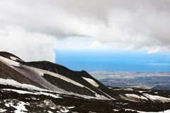 Etna, Clouds, Sea Royalty Free Stock Image