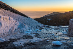 Etna crater and volcanic landscape Royalty Free Stock Images