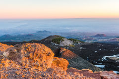 Etna crater and volcanic landscape Stock Photos