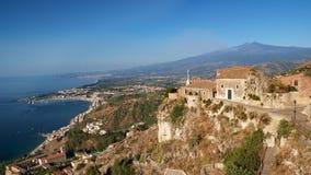Etna da Taormina Fotografie Stock Libere da Diritti