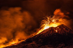 Etna eruption - Catania, Sicily. Sicily, Italy. 2nd December 2013. Italy's active volcano, Mount Etna, produced fountains and explosions of lava as the stock images