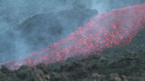 Etna, flusso di lava del dettaglio video d archivio