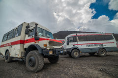 ETNA, ITALY - AUGUST, 2015: Tourists going up the Etna active volcano on big 4x4 buses in August, 2015 in Sicily Island, Italy. Royalty Free Stock Images
