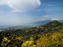 Etna landscape. Landscape of mount Etna from Taormina Stock Photo