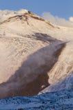 Etna lawa na śniegu Zdjęcia Royalty Free