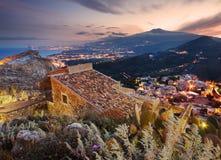 Etna mount seen from Taormina Stock Photography
