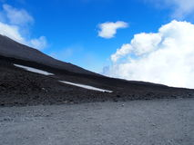Etna Mount, tallest active volcano in Europe, Italy. Etna Mount, tallest active volcano in Europe with several clouds in clear blue sky in warm and sunny spring Stock Image