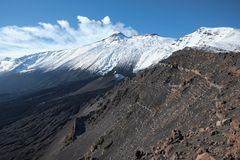 Etna Mountain Covered Snow From Serra Delle Concazze, Sicily stock photography