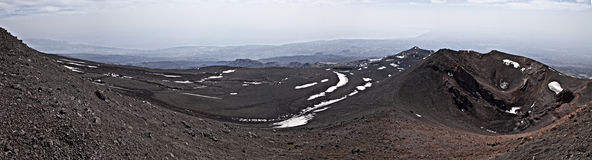 Etna. Panoramic view from the top of Mount Etna in Sicily, Italy, the highest active volcano in Europe, in the background the Mediterranean Sea and the city of Stock Image