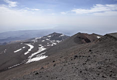 Etna. Panoramic view from the top of Mount Etna in Sicily, Italy, the highest active volcano in Europe, in the background the Mediterranean Sea and the city of Royalty Free Stock Image