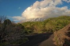 Etna Park landscape at evening. Sicily stock image