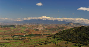 Etna Sicilian landscape. This photograph was made at Aidone (nicknamed the balcony of Sicily), a small mountain town the province of Enna, in the center of Royalty Free Stock Photo