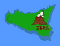 Etna and Sicily. The image of Sicily with Mount Etna has a very wide use, the use would sent to travel agencies to create posters and maps of various kinds Vector Illustration