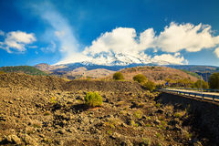 Etna smoking in spring Royalty Free Stock Photo
