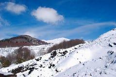 Etna snowscape在西西里岛 库存照片