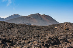 Etna summit craters of south-east panorama, Sicily Royalty Free Stock Images