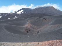 ETNA summit at Sicily in Italy with touristis, panoramic landscape of lava and massif of mount stock photography