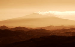 Etna at sunset in golden colors, Sicily, Italy Royalty Free Stock Photography