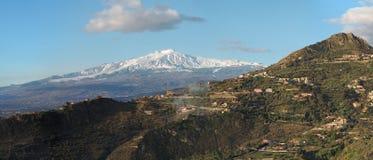 etna szczyt widzieć śnieżny taormina wulkan Zdjęcie Royalty Free
