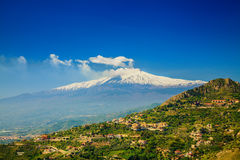 Etna from the town Castelmola Stock Images