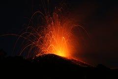 Etna van de vulkaan uitbarsting Stock Afbeeldingen