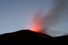 Etna van de vulkaan uitbarsting Stock Fotografie