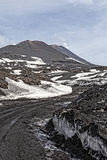 Etna. A view of the top of Mount Etna, in Sicily in Italy, the tallest active volcano in Europe Royalty Free Stock Image