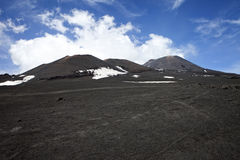 Etna. A view of the top of Mount Etna, in Sicily in Italy, the tallest active volcano in Europe Royalty Free Stock Photo