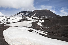 Etna. A view of the top of Mount Etna, in Sicily in Italy, the tallest active volcano in Europe Royalty Free Stock Images