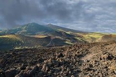 Etna volcano caldera landscape Stock Photos