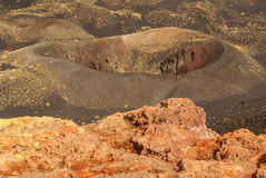Etna volcano craters in Sicily, Italy Royalty Free Stock Image