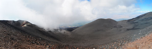 Etna Volcano - Panorama. Etna is a volcano of about 3323 metres high and is still active. It is situated on Sicily Island, Italy stock image