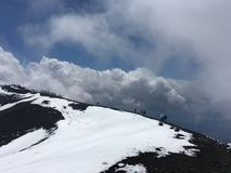 Etna vOlcano. People to Etna volcano Royalty Free Stock Photo