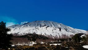 Etna volcano in Sicily Italy northern slope covered by snow.  Royalty Free Stock Photos