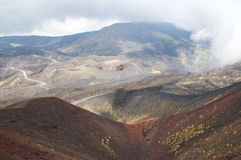 Etna Volcano and Silvestri Crater. Etna is a volcano of about 3323 metres high and is still active. It is situated on Sicily Island, Italy. Silvestri Crater is royalty free stock images