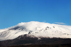 Etna volcano, with snow, front view Royalty Free Stock Photos