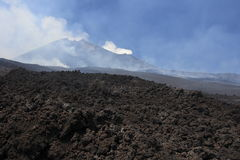 Etna Vulcan landscape. Landscape of Etna Vulcan central crater Stock Photo